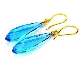 35% OFF One Pair of Hydro Blue Topaz, 48x9mm(Appx) 22k Gold Plated Teardrop Gemstone Dangle & Drop Earrings(HBER-90100)
