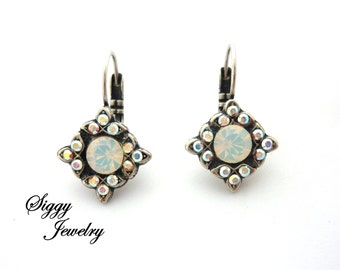 Swarovski Crystal Multi-Stone Earrings, White Opal, Crystal AB, Flower Cluster Earrings, ICE Diva Collection, Siggy Jewelry, FREE Shipping