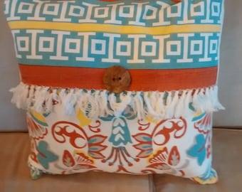 Batik button pillow