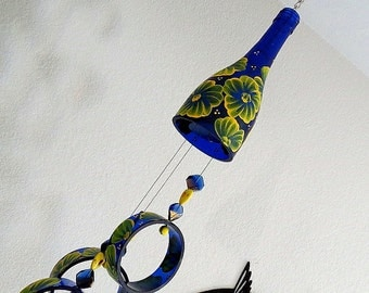 Wine bottle wind chime, Recycled glass bottles, yard art, patio decor, cobalt blue glass, Yellow flowers