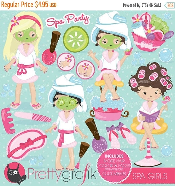 80% OFF SALE Spa girls party clipart for by Prettygrafikdesign