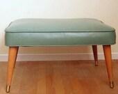 Mid Century Modern Footstool, Mid Century Modern Ottoman, Danish Modern Footstool, Green Footstool