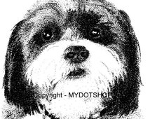 Instant Download of  Shi Tzu Pointillism Drawing