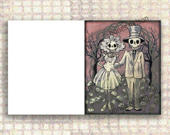 Day of the Dead Wedding CARD Mexican Folk Art Print Bride and Groom Skeleton Anniversary Couple Greeting card