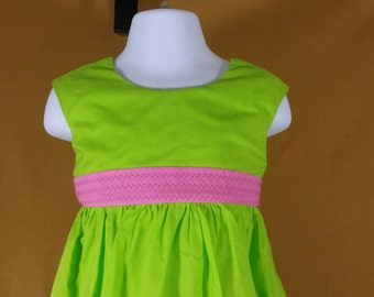 2T Lime green and Pink dress