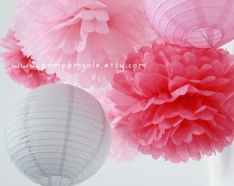 SALE - One Sweet Day - 6 Tissue Paper Pom Poms plus 2 Paper Lantern - Fast Shipping - Wedding / Baby Shower / Birthday Party / Nursery Decor