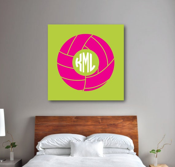 Volleyball Wall Art Girl 39 S Bedroom Decor Volleyball CANVAS Hot Pink