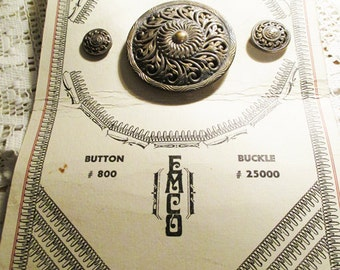 Vintage  Button and Buckle sample card. - 3 different sized buttons and a buckle.  From a button collectors estate - Estate find!
