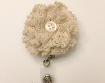 Vintage lace retractable badge reel