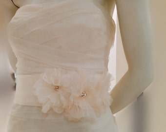 Ivory and blush organza flower bridal sash, wedding flower sash, crystal flower sash