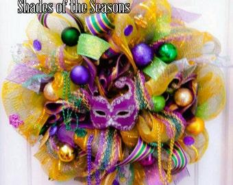 Mardi Gras Poly Mesh Wreath, Carnival Wreath, Mardi Gras