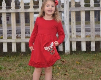 Red ruffled Reindeer Christmas applique dress personalized with name or monogram