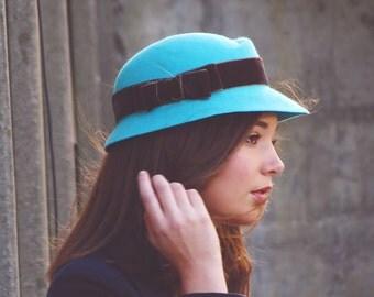 Blue felt hat- Woman felt hat - Woman winter hat - 1920s hat - wool felt hat