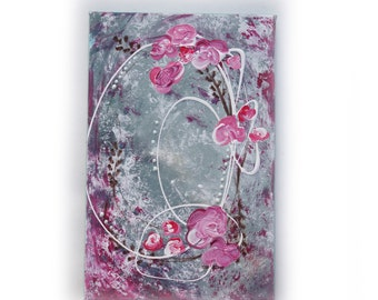 """Shabby chic Original Painting Art rose 14 Renaissance by KSAVERA 8""""x12"""" Art Nouveau Little Small paintings on canvas birthday for mom her"""