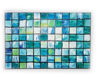 """Blue mosaic small Original Painting Abstract Art 32 Midcentury Modern by KSAVERA 8""""x12"""" Little paintings on canvas birthday for mom her"""