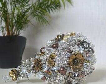 Silver and Gold Wedding Bouquet Jewelry Bouquet Teardrop Bouquet