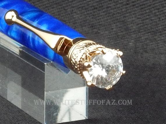 Royal Blue Twist Pen, Adorned with Swarovski Crystal