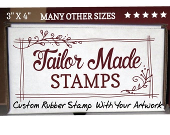 "Shopping Bag Stamp, Custom Stamp, Logo Rubber Stamp,  3"" x 4"" Wood Mounted"