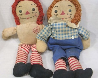 Early Raggedy Ann and Andy Dolls Circa 1940s with Original Tags