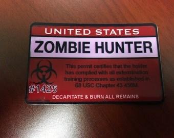 Zombie Hunter Permit PVC ID Card