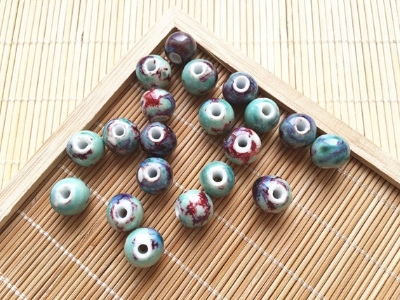 Blue Tone Ceramic Beads With Brown Specks Pottery Beads
