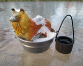 Dollhouse Miniatures - Collie Dog in Galvanized Tub Taking a Bath - Comes with Bucket of Water