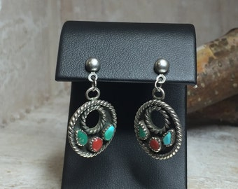 TURQUOISE and CORAL Dangle Southwest Earrings