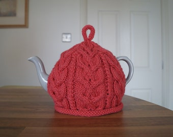 Hand knitted cable Tea Cosy Coral Pink - NESTON