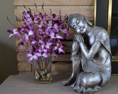 Purple Dendrobium Orchid Flowers in Glass Vase with Rocks & Faux Water, Zen Home Collection, Feng Shui, Spring Flowers