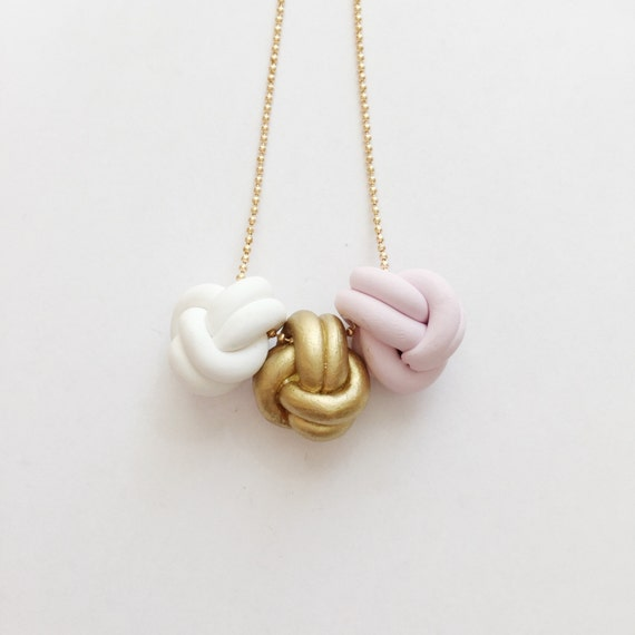 Gold Love Knot Trio Necklace