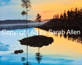 Sunset Island Landscape Instant Downloadable Print, beautiful blue and orange sky with lake and trees - Size 40.5 x 40.5cm