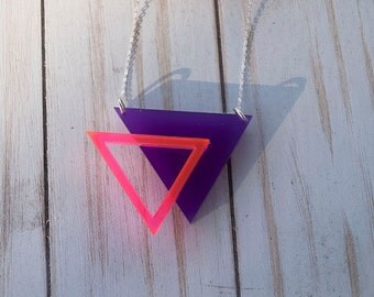 Layered Laser Cut Acrylic Necklace #1