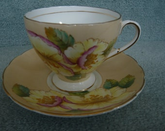 Footed E B Foley Footed Teacup and Saucer Peach With Large Flowers