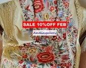 Collectable hand embroidered spanish silk flamenco piano shawl, mantones, wedding evening wrap