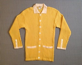 1970's, striped, cable knit, cardigan, Gucci sweater, in mustard and cream, Women's size EU 38/Medium