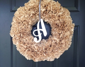 Initial coffee filter wreath