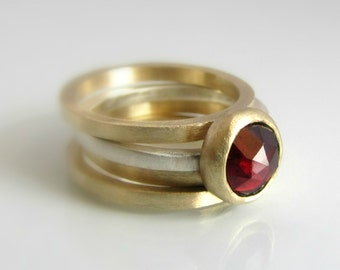 Garnet Ring,  Birthstone Ring, Gemstone Ring, Stackable Rings, Gold and Silver Ring, 14k Gold Ring, Engagement Ring, January Birthstone