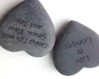 "Personalized 4"" Heart Shape Stone Rock"