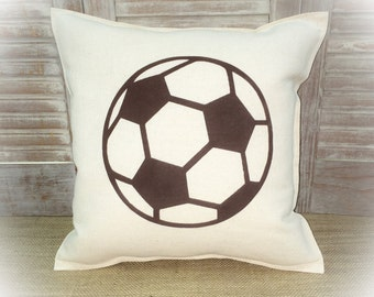 Decorative Pillow with a Soccer ball silhouette. COMPLETE pillow. Sports decor