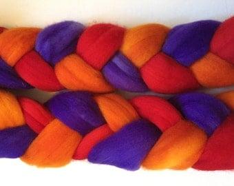 August Sunset - Gradient 100% Merino Top,4 oz. braid, hand-dyed merino