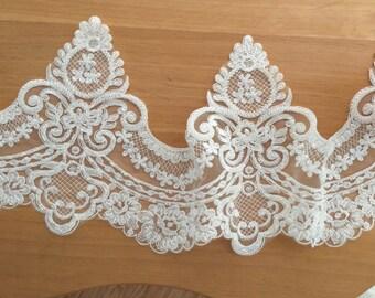 Beautiful Beaded Alencon Lace Trim ,Wedding Veils Gown Bridal Lace Trim
