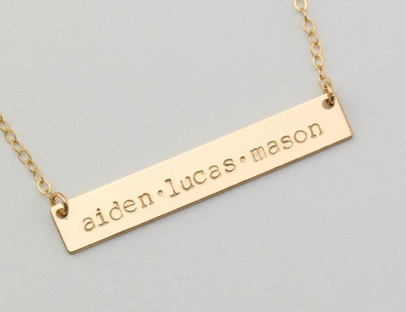 mother 39 s necklace mom jewelry 14k gold bar by. Black Bedroom Furniture Sets. Home Design Ideas
