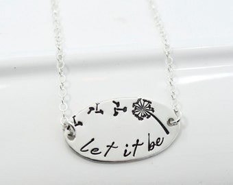 Hand-Stamped Let It Be Dandelion Fluff Necklace | Sterling Silver Necklace | Oval Choker Necklace