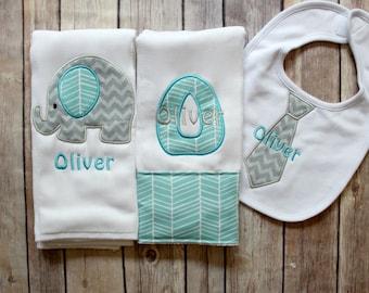 Monogrammed Baby Boy Elephant Burp Cloth Tie Bib, Baby Boy Elephant Burp Cloth Set, Personalized Baby Boy Gift, Chevron Elephant Baby Gift