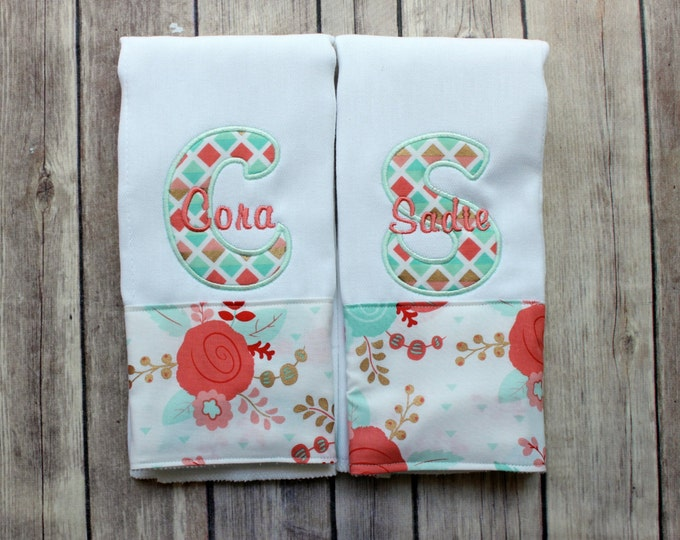 Baby Girl Burp Cloth Set, Twin Baby Gift, Twin Girl Burp Cloth Set, Monogrammed Twin Burp Cloth, Personalized Twin Burp Cloth, Floral Coral