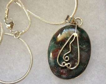 Ocean Jasper Gemstone Pendant Necklace in 925 Sterling Silver Design