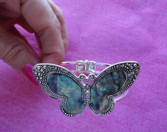 Abalone shell butterfly or  dragonfly bangle hidge bracelets