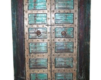 Farmhouse Antique Indian Doors Hand Carved Haveli Teak Wood Double Door & Frame Industrial Boho Shabby Chic