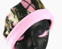 Cam-O! Outdoor Gear   Pink Camo Hat   Fleece Cuffed Beanie Pull On   Woodland Print   Fall Autumn Winter Warm Ski Hat   Camo Chemo Hat