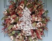 SALE!!!  Rustic Christmas Tree Wreath, Merry Christmas Wreath, Merry Christmas Deco Mesh Wreath, deco mesh wreath, Christmas Wreath